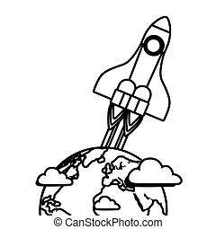 planeta, sistema solar, cohete