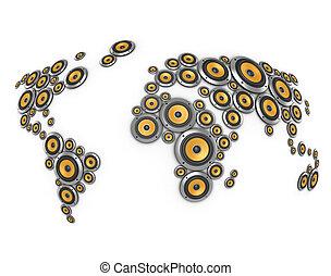 planeta, sonido, ilustración, 3d