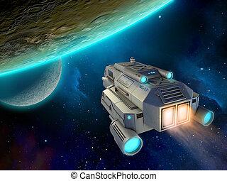 planeta, statek kosmiczny, zbliżając
