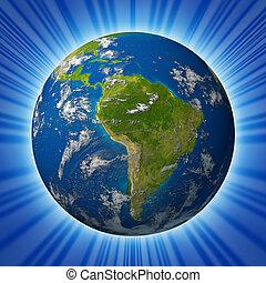 planeta, terra, caracterizando,  América, SUL