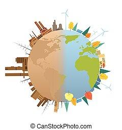 planeta, terra, globo, limpo, poluído