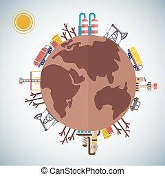 planeta, terra, poluído