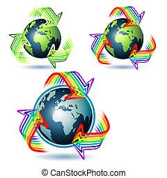 planeta, terra, três