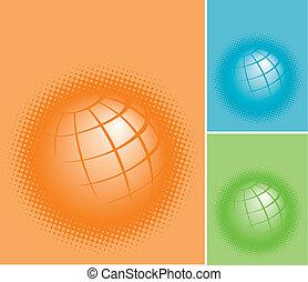 planeta, terras, três, coloridos