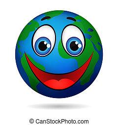 planeta, uśmiechanie się, ziemia