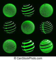 planeta, verde, ícones