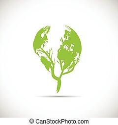 planeta, verde, diseño