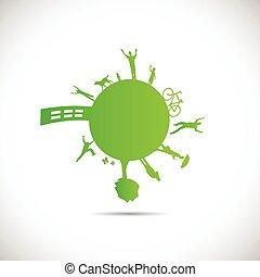 planeta, verde, ilustración