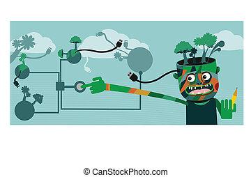 planeta verde, tecnologia, conceito