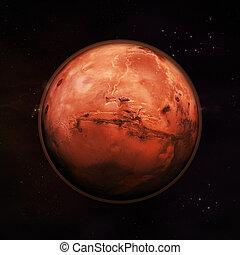 planeta, -, vermelho, marte