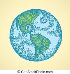 planeta, vindima, Esboço, estilo, terra