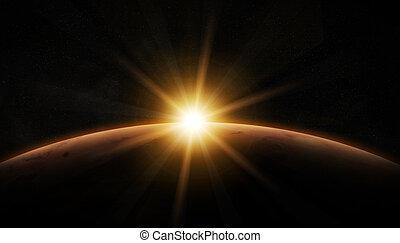 planeta, vista, marte