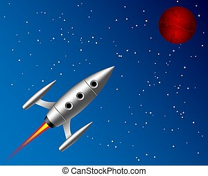 planeta, voando, foguete