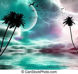 planeta, vuelo, árboles, estrellas, palma, plano de fondo,...