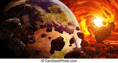 planeta, ziemia, mgławica, czerwony, Przestrzeń