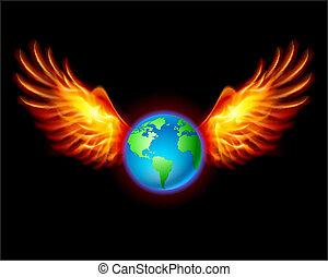 planeta, ziemia, z, ognisty, skrzydełka