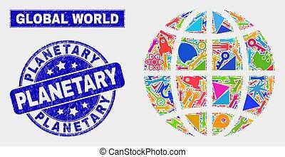 planetario, afflizione, watermark, globo, pianeta, tecnologia, mosaico