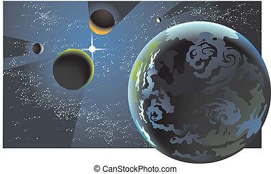 planetario, allineamento, illustrazione