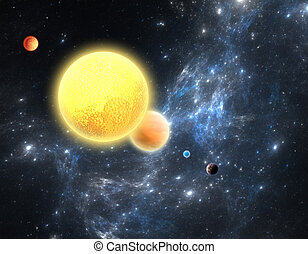 planetarisch, system, mit, a, rotes , zwerg, stern