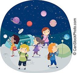 planetarium, dzieciaki, stickman, ilustracja
