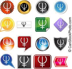 planetarny, komplet, neptun, znak, ikona
