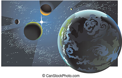 Illustrated planets in near alignment.