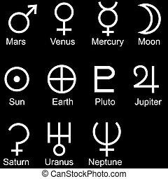 planetary sign icon set Black