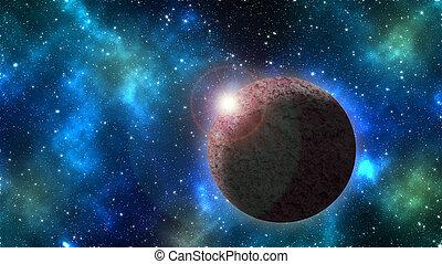 planetas, con, el, brillar, estrella, en, espacio