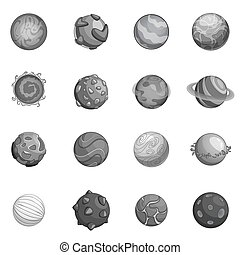 planetas, conjunto, monocromo, fantástico, iconos