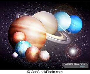 planetas, de, el, solar, system., vector, ilustración