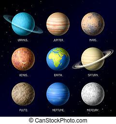 planetas, de, sistema solar
