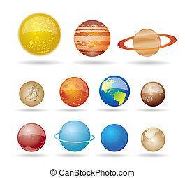 planetas, e, sol