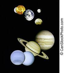 planetas, en, exterior, space.