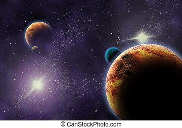 planetas, en, profundo, oscuridad, space., resumen,...
