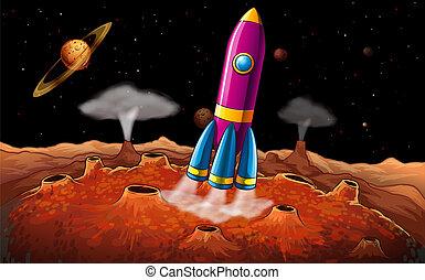planetas, foguete, outerspace