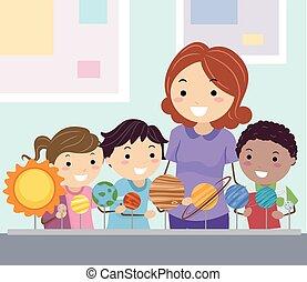 planetas, stickman, estudio, niños, estudiante
