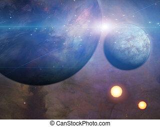 planetas, y, soles