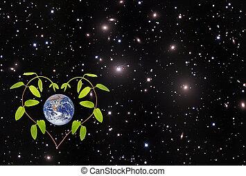 planet.elements, gemeubileerd, dit, beeld, nasa, groene