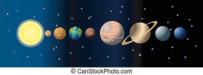 planeten, sonnenkollektoren, karikatur, system