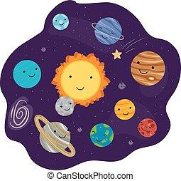 planeten, system, sonnenkollektoren, maskottchen