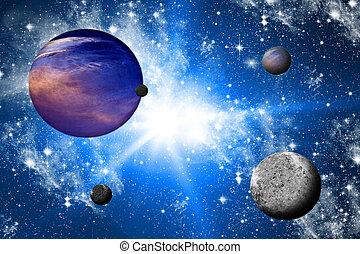 planeten, und, der, universe.