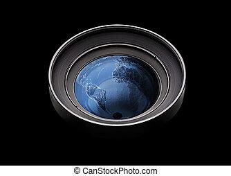 planeth, variopinto, lente, macchina fotografica, nero,...