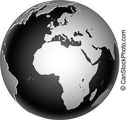 planetować ziemię, globalny, ikona, świat