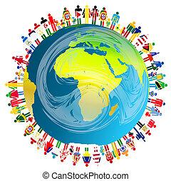 planetować ziemię, pojęcie, pokój, ludzie