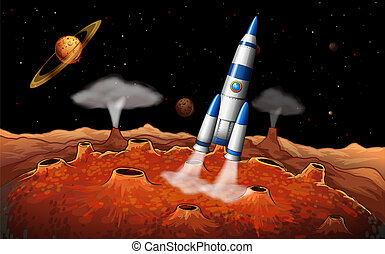 Planets and a spaceship at the outerspace - Illustration of...