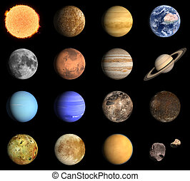 A rendered Image of the Planets and some Moons of our Solar System.