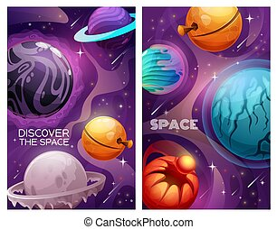 Planets and stars in space, alien galaxy universe