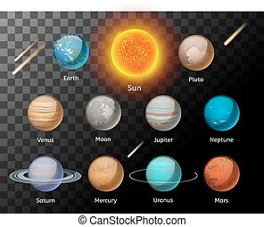 Planets colorful vector set on dark background, Planet...