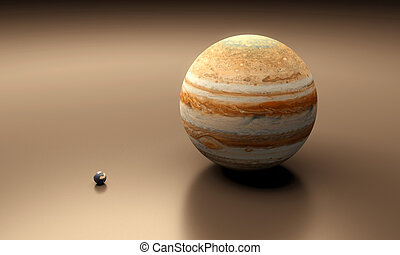 Planets Earth and Jupiter balnk - A rendered size-comparison...