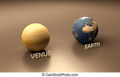 Planets Earth and Venus - A rendered size-comparison sheet...